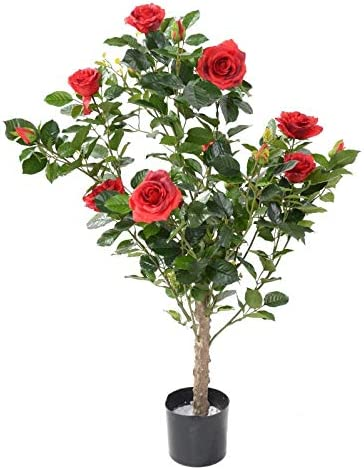 100 cm /• Plante Artificielle de qualit/é fran/çaise Kalendo Rosier Artificiel Royal