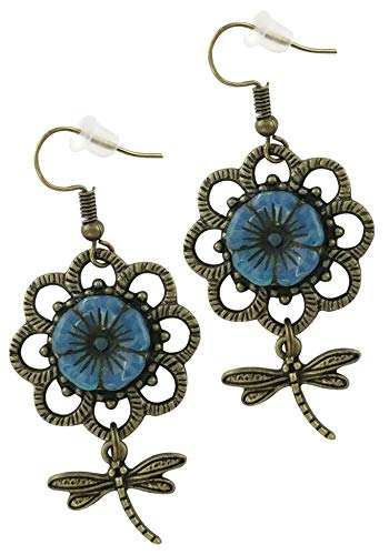 Susie's Gift Shop Czech Glass Teal Beads Set in Antique Bronze Flower with Dragonfly Leaves | Hand Assembled in USA