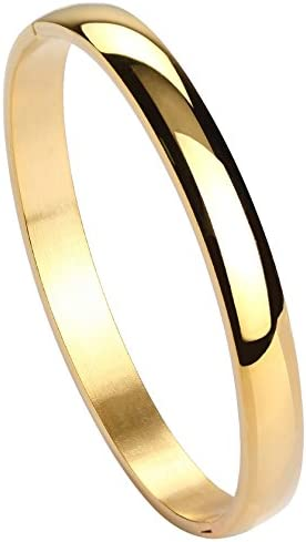 """Milakoo Womens 8MM Stainless Steel Brecelet Plain Polished Finish Cuff Bangle 7"""""""