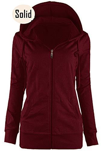 OLLIE ARNES Women's Thermal Long Hoodie Zip Up Jacket Sweater Tops Solid_Burgundy XL