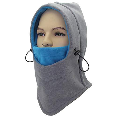 Miracu Heavyweight Balaclava Windproof Ski Face Mask, Women and Men Soft Fleece Winter Hat/Hood for Outdoor Sports,One Size,Gray & Blue