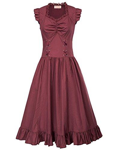 Poque Bp364 Gothic 3 Schwarz Kleid Lang Damen burgundy Belle Kleid Corsagenkleid Steampunk UdqzUv