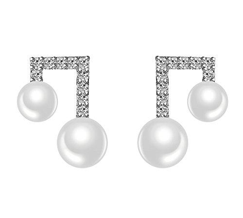 Rakumi Fine Tune Pearl Earrings 5-7mm White Freshwater Pearl Earrings Sterling Silver ()
