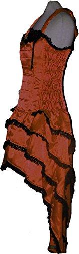 Brown Ruffle Satin Corset Rose Bustle Dress Designer Party Bridesmaid Custom Plus Size S/m -