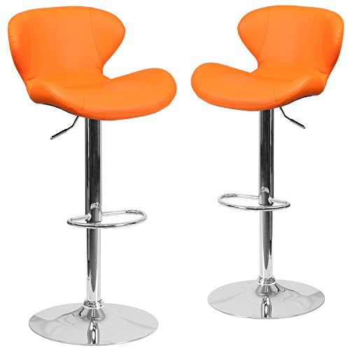 Flash Furniture 2 Pk. Contemporary Orange Vinyl Adjustable Height Barstool with Chrome ()