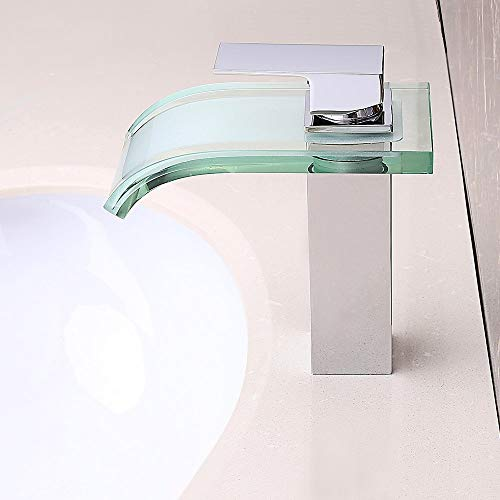 AUXO Contemporary Co-crystal Glass Waterfall Curved Spout 1-Hole Single Handle Bathroom Vanity Sink Faucet Solid Brass Sink Mounting in Polished ()