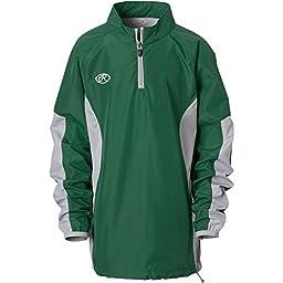 Rawlings Boy\'s Long Sleeve Wind Breaker Jacket, Dark Green, Large