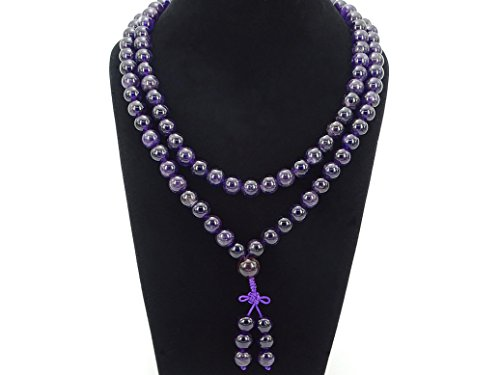 jennysun2010 Natural 10mm Amethyst Gemstone Buddhist 108 Beads Prayer Mala Long Necklace Multi-Purpose about 43