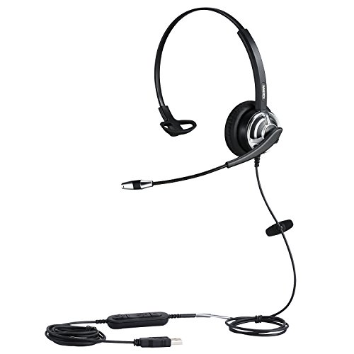 USB Headset with Noise Cancelling Microphone Computer Phone Headset for Drangon Voice Recognition Speech Dictation PC Headphone for Call Center Skype Chat with Mic Mute Volume Control Call Button
