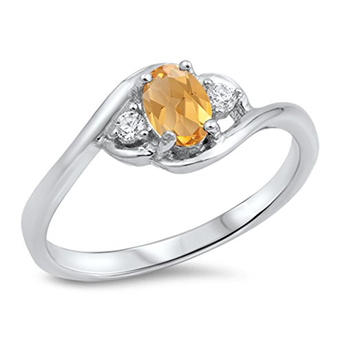 - 925 Sterling Silver Faceted Natural Genuine Yellow Citrine Oval Cluster Ring Size 9