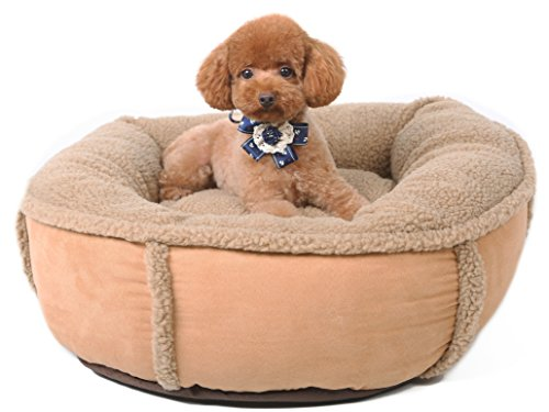 Felicite Home Pet Plush Pet Bed for Cats/Dogs and Small Size,Shredded Memory Foam,Cover Removable for Dual Use, Camel, 23x20x7 Inches