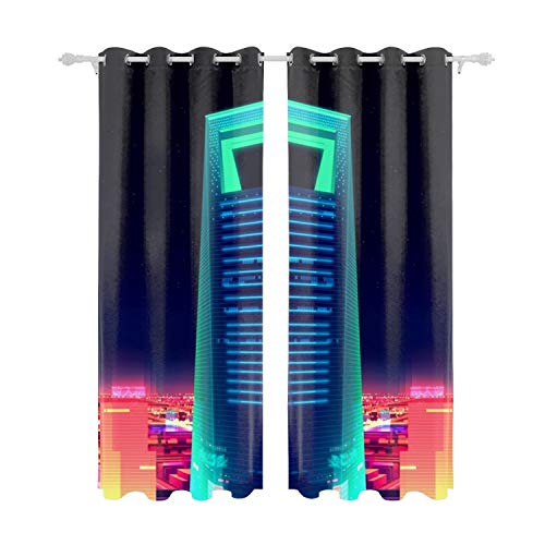 (MAYS Blackout Curtain Panels Window DraperiesShanghai World Financial Center 3D Art Neon 55x84 Inch 2 Pieces Insulating Room Darkening Blackout Drapes for Bedroom)