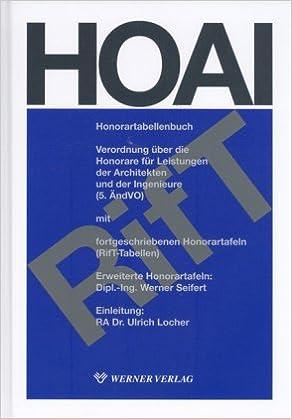 Hoai Honorartabellenbuch Mit Erweiterten Honorartabellen Verordnung