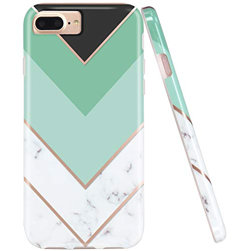 - JIAXIUFEN Geometric Mint White Marble Slim Shockproof Flexible Bumper TPU Soft Case Rubber Silicone Cover Phone Case Compatible with iPhone 7 Plus/8 Plus/6 Plus/6S Plus