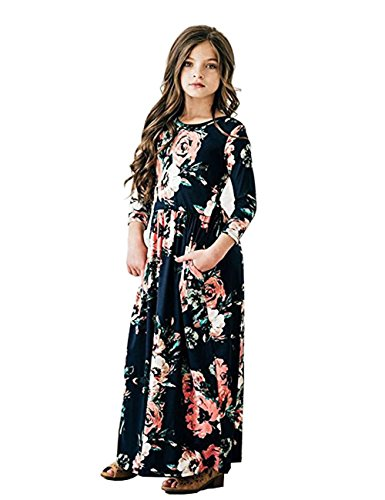 JYH Girls Maxi Dress, Floral Flared Sewing Pocket Three-Quarter Sleeves Long Dress Size 5-12 … -