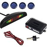 LED Car Parking Sensor Auto Reverse Assistance Backup Radar Detector System Blue Color 4 Sensors