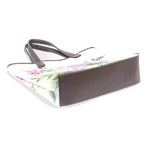 Coosun Womens Flower Paint Pu Leder große Einkaufstasche Griff Umhängetasche