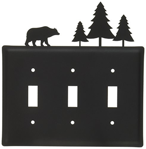 Village Wrought Iron Switchplate - 8 Inch Bear and Pine Triple Switch Cover