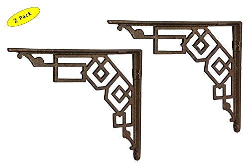 A29 10 Inch x 12 Inch Iron Shelf Bracket, Antique Brass Finish, Set of (Brass Classic Brackets)