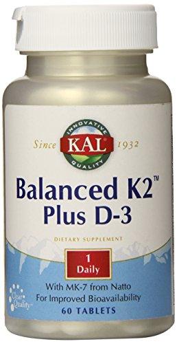 KAL Balanced K2 Plus D-3 Tablets, 100 mcg, 60 Count