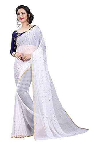 VintFlea Womens Bollywood Designer Party Wear Chiffon Saree with Blouse Piece White ()