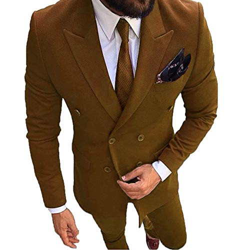Mens 2 Piece Suit Slim Fit Blazer Notched Lapel Double Breasted Suits Wedding Groom Tuxedo (Jackets and Pants Brown ()