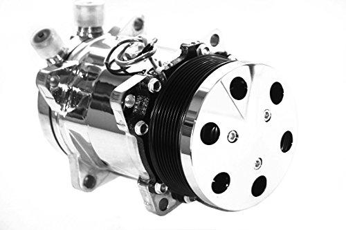 Universal Sanden 508 Chrome A/C Compressor Serpentine w/ Chrome Clutch Cover - A/c Compressor Clutch Cover