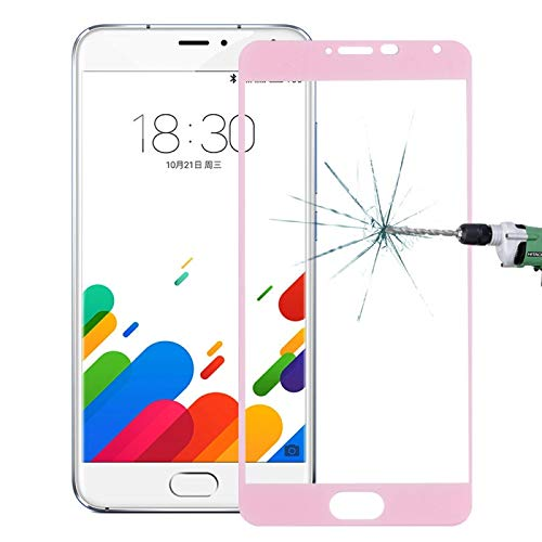 ((#131) For Meizu Metal 0.26mm 9H Explosion-proof Silk-screen Tempered Glass Full Screen Film(Pink))