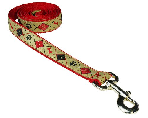 Sassy Dog Wear 6-Feet Tan Argyle Dog Leash, Medium
