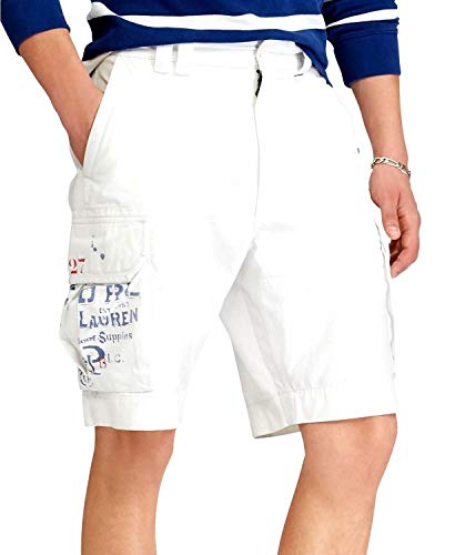 Polo Ralph Lauren Mens Twill Flap Pockets Cargo Shorts White 30