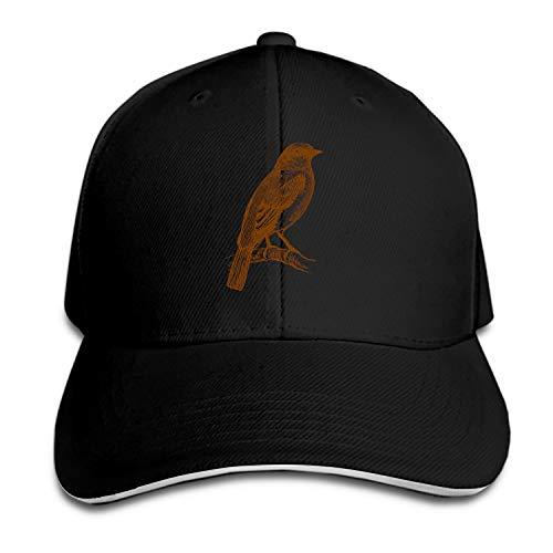Birded Aves Feathers Ornithology Sparrow Unisex Washed Twill Baseball Cap Adjustable Peaked Sandwich Hat