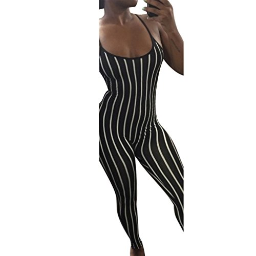 Honghu Sexy Frauen Spaghetti Strap Ärmellose Jumpsuit Skinny Striped Lange Hosen Strampler Schwarz cOe7p