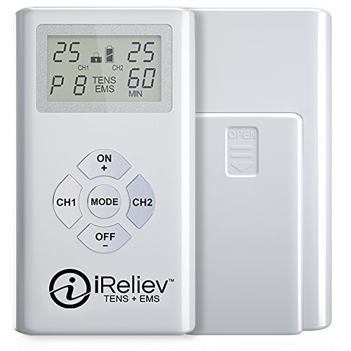 iReliev TENS + EMS Combination Unit Muscle Stimulator for Pain Relief & Arthritis & Muscle Strength - Treats Tired and Sore Muscles in Your Shoulders, Back, Ab's, Legs, Knee's and More (Stimulation Combination)