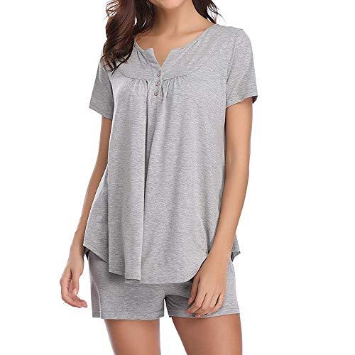 Clearance Women Tops LuluZanm Pajama Sets Bamboo Tank And Shorts SetButton Short Sleeve Sleepwear (Ruffled Soft Bra)