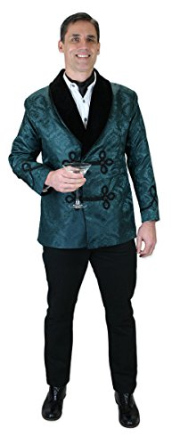 Historical Emporium Men's Vintage Brocade Smoking Jacket L Green ()