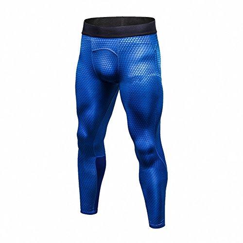 Yiitay Uomo Asciugatura Rapida Pantaloni Sportivi Fitness Leggings(Blu,XL)