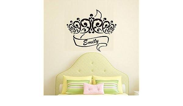 supmsds Princesa Corona Pegatinas de Pared Nombres Personalizados ...
