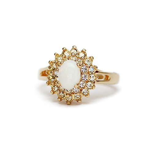 (Providence Vintage Jewelry Genuine Opal & Clear Swarovski Crystal 18k Gold Plated Cocktail Ring)