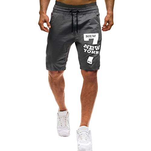 (KINGOLDON Men Summer Beach Shorts Letters Casual Elastic Joggings Sport Solid Baggy Pockets Pants)