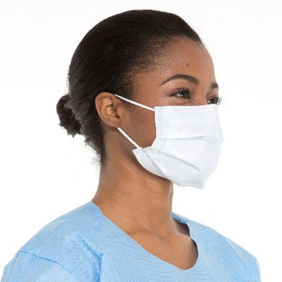 HALYARD Fog-Free Procedure Mask, Pleat Style w/Earloops, Sonically Bonded Foam Strip, Blue, 62362 (Box of 50)