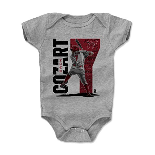500 LEVEL Zack Cozart Baby Clothes, Onesie, Creeper, Bodysuit 18-24 Months Heather Gray - Los Angeles Baseball Baby Clothes - Zack Cozart Stadium R