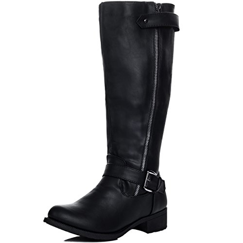 Adjustable Buckle Flat Knee High Tall Boots Black Leather Style Sz 7 (Flat Knee Style Boot)