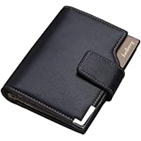 Baellerry Casual Bifold leather Short Wallet for men, Black