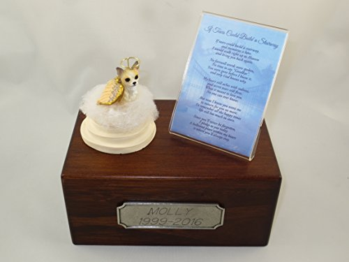 Beautiful Paulownia Small Wooden Urn with Tan & White Chihuahua Stairway to Heaven Figurine with Poem & Personalized Pewter Engraving (Figurine Tan Urn)