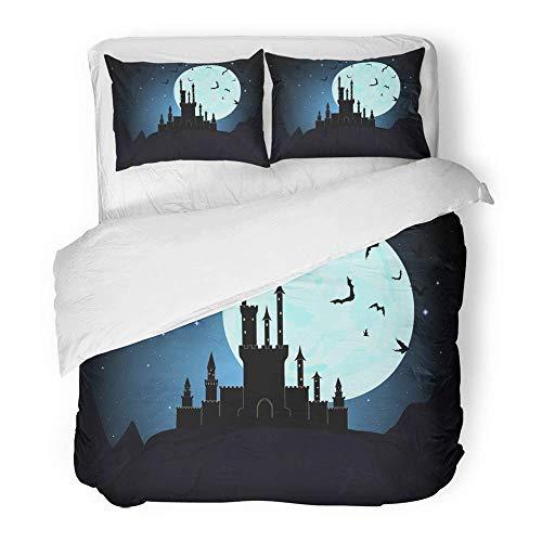 MIGAGA Decor Duvet Cover Set King Size Dracula Halloween Dracula's Castle Moon Dungeon Transylvania Vampire Mystical Night 3 Piece Brushed Microfiber Fabric Print Bedding Set Cover]()