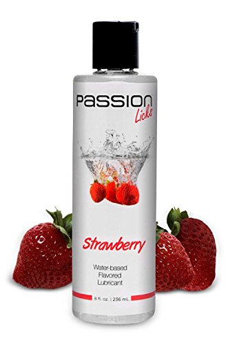Passion Lubes Passion Licks Strawberry Water Based Flavored Lubricant, 8 Ounce