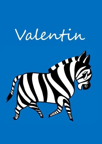 individualisiertes Malbuch/Notizbuch/Tagebuch - Valentin: Zebra - A4 - blanko