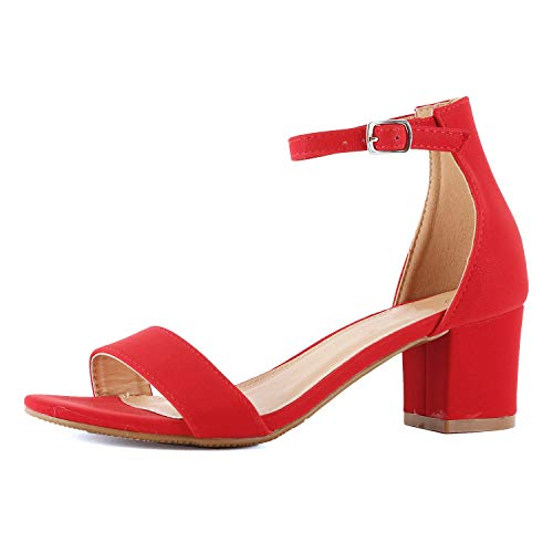 Womens Ankle Strap Single Band Sandal | Low Chunky Block Comfortable Office Heeled Sandals Sandal (9 M US, Red Pu)