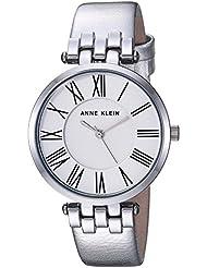 Anne Klein Womens AK/2619SVSI Metallic Leather-Strap Watch, Silver-Tone