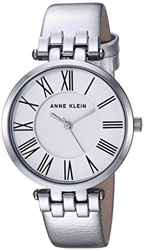 Anne Klein Women's AK/2619SVSI Metallic Leather-Strap Watch, Silver-Tone
